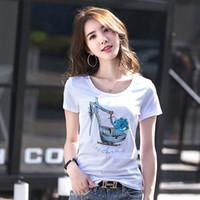 ingrosso maglietta delle signore di qualità-Nuovo cotone di alta qualità paillettes stampa T-shirt da donna Casual 3D modello Top T-Shirt Office Lady Fashion Cartoon Slim t-shirt Canotte