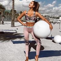оранжевый синий камуфляж оптовых-2018 женский спортивный костюм камуфляж леггинсы из двух частей фитнес-одежда спортивные костюмы Crop Top Skinny Pants Set #849743