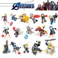 super héroes construir al por mayor-Marvel building blocks Sets 16 unids / lote Vengadores Mini Superhéroe Superhéroe Thor Hulk Capitán América Figuras Bloques de Construcción Juguetes