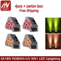 dmx 512 uzaktan toptan satış-4 adet Yeni 6x18 w RGBWA + UV led pil kablosuz par uzaktan kumanda led uplight olabilir uplight Dmx Led Par Işık
