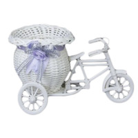 Wholesale flower basket tricycle resale online - 2 Size DIY Plastic White Tricycle Bike Design Flower Basket Container For Flower Plant
