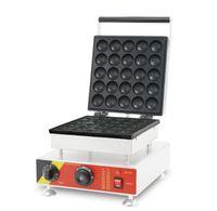 máquina de cono de waffle al por mayor-Nueva máquina comercial de 25 piezas de poffertjes grill con tapa, 110v 220v Mini waffle machine, nuevo diseño de acero inoxidable fabricante de cono de waffle