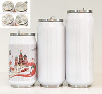 DIY Sublimation mug 9 12 15oz Cola Can with 2 Types Lids White Heat Transfer Coke Cans Stainless Steel Insulated Water Bottles Travel Mugs