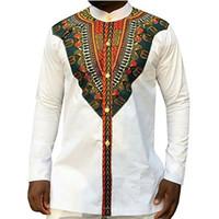 tribal print kleidung großhandel-Tribal Ethnic Print afrikanischen Dashiki Dress Shirts Männer Afrika Style Kleidung Langarm-Design