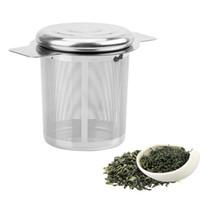 feines sieb großhandel-Deckel Tee- und Kaffeefilter Feinmaschiges Teesieb Wiederverwendbarer Edelstahl-Teesiebkorb mit 2 Griffen