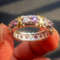 diamantes de cruz de oro amarillo al por mayor-2018 Brand Jewlery Women 925 Silver Purple Simulated Diamond Cubic Zirconia Tanzanite Yellow Gold Cross Eternal Band Wedding Ring