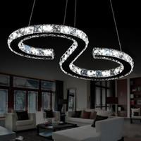 elmas yüzük led kristal avizeler toptan satış-Modern Krom Avize Kristalleri Pırlanta Yüzük 24 W LED Lamba Paslanmaz Çelik Asılı Işık Fikstür Ayarlanabilir Cristal