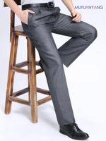 erkek ipek takım elbise toptan satış-Mu Yuan Yang Yaz Erkekler Suit Pantolon Keten Ipek Erkekler Elbise Pantolon Pileli Örgün İş Rahat Uzun Pantolon Ince Suits