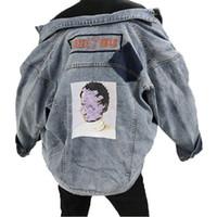 ärmel-jeansjacke plus größe großhandel-Bedruckte Jeansjacke Plus Size Langarm Frühling 2019 Mantel Lockern Jaket Jeans Frau Spliced Mantel Hip Hop Womens Oberbekleidung