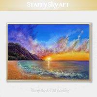 ingrosso acrilico paesaggi marini-Eccellente Artista dipinto a mano spiaggia di alta qualità e Sunrise Acrilico su Tela ricchi colori Seascape Dipinto in acrilico