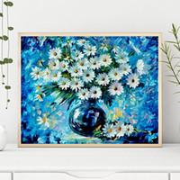 ingrosso pittura a olio di arte a parete fiori bianchi-Famosa tela su tela White Flower Margherite Radiance HD Poster Wall Art Stampa olio Immagine del soggiorno nella cucina Home Decor
