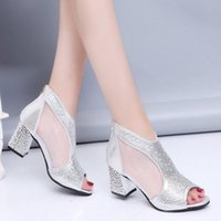 Wholesale silver thick boot heel resale online - 2020 summer women s sandals rhinestone fish mouth mesh thick heeled high heel sandals women s fashion ankle boot