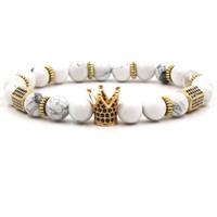 natürliche rosafarbene quarzschmucksachen großhandel-8mm Naturstein Armband Weiß Türkis Luxus Designer Schmuck Frauen Armbänder Rosenquarz Zirkonia Crown Armband Für Geschenk