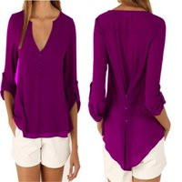 şifon şık üstleri toptan satış-Sonbahar Şık Kadınlar Şifon Bluz Gömlek 2019 V Yaka Uzun Kollu Kadın Rahat Düz Renk Kadın Artı Boyutu Giyim S-5XL Tops