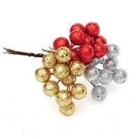 decoração bola vermelha venda por atacado-Árvore de Natal 10pcs Baubles Red Sliver cor do ouro Estame Esferas de suspensão do ornamento do pendente para Decoração de Natal Partido