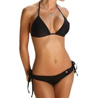 нижние набивные купальники оптовых-11 Colors Womens Sexy Two Piece Bikini Set Side Tie Drawstring Triangle Bottoms Swimsuit Halter Bandage No Padded Bra Candy Colo