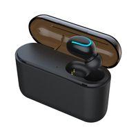 samsung kablosuz cep telefonları toptan satış-Q32 Bluetooth 5.0 Kulaklık Cep Telefonu Kulaklık Ile Güç Bankası Mini Kablosuz Kulaklık Stereo Spor Akülü EDR Handsfree Oyun Mic Kulaklık