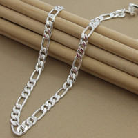 Wholesale silver figaro chains for men resale online - 8MM cm Men s Necklaces Silver Jewelry Figaro Chain Necklace High Quality Jewelry for Women Men N187