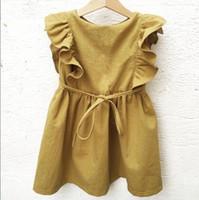 schöne sommer-baby-kleider großhandel-Großhandel Baby Mädchen Gelb Kleider Kinder Kleidung Sommer Kinder Flare Ärmel Rüschen Baumwolle Leinen Kleid Schöne Mädchen E90235