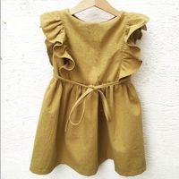 kızlar sarı pamuklu üst toptan satış-Toptan Bebek Kızlar Sarı Elbiseler Çocuk Giyim Yaz Çocuklar Parlama Kollu Fırfır Pamuk Keten Elbise Güzel Kızlar E90235