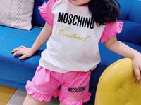 pantalon corto para niña rosa al por mayor-2019 Conjuntos de ropa para niñas de verano Ropa para niños pequeños Ropa de manga corta camiseta rosa + Pantalones 2pcs traje de algodón bebé Roupa Menina