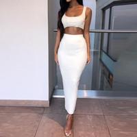 gece kulübü kadınların başında toptan satış-Kadın Gece Kulübü Yaz Kısa Bitkileri Tops Ve Ince Uzun Kalem Etek Suit Set Katı Takım Elbise Setleri 2 Adet Set bayanlar Eşofman Elbise
