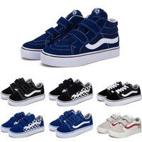 Wholesale boys fashion sneakers resale online - Designer Original old skool sk8 hi kids shoes boy girl baby shoes canvas sneakers Strawberry fashion skate casual shoes size