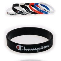 Wholesale silicone rubber print online – custom Champions Wristband Silicone Sports Bracelet Men Women Rubber Bracelet Letter Printed Lovers Gift Boys Basketball Wristband B5703