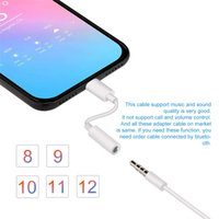 auriculares mm al por mayor-Adaptador de auriculares compatible con IOS 11 12 para iPhone Adaptador AUX para iluminación hembra a 3.5 mm Adaptadores masculinos Auriculares Envío gratis