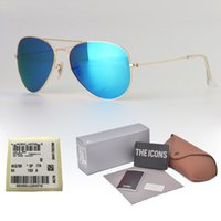 Wholesale alloy driver sunglasses resale online - High Quality Metal Frame uv400 Glass Lens Sunglasses Women Men Brand Design Eyewear Pilot driver Sun Glasses with Retail cases and label