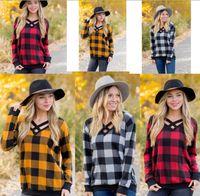 20fa0d6d9b78db Women Plaid T-shirt Long Sleeve V-neck Pullover Casual Loose Tshirts  Checkered Neck Halved Belt Tops Tees Fashion Girls Raglan Blouse 2019