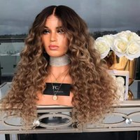 Wholesale heat friendly lace front curly resale online - Freeshipping Synthetic Kinky Curly Heat Resistant quot Extra Long Mix Blonde Curly Heat Friendly Synthetic Hair Lace Front Party Wig