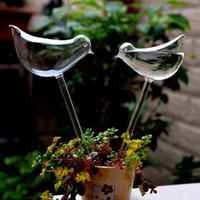 kuş bitkileri toptan satış-2 adet / grup Ev Dekor Kuşlar Şekil Bahçe Cam Bitki Tencere Saksı Cam Kapalı Bahçe Otomatik Sulama Tencere Saksı Sıcak Satış