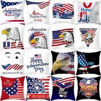 Wholesale flag pillow for sale - Group buy 45 cm American Independence Day Pillow Case Sofa Pillow Cover USA Flag Printted Home Decor Cushion Cover HHA602