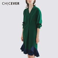 Wholesale shirt dresses for work for sale - Group buy CHICEVER Ruffles Female Dresses For Women V Neck Three Quarter Sleeve Hit Colors Mermaid Dress Vestido Elegant Clothes New T5190615