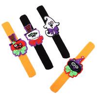 Wholesale slap toys resale online - 4 Styles Halloween Papa Slap Wristband cm Pumpkin Ghost Skull Black Cat Patting Bracelet Children Toys Gift L330