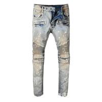 ingrosso maschio legato-Wear Man Paint rock revival mens print Jeans disegni per auto-coltivazione Bound Feet Pants Tide Male Locomotive