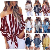 blusas de mujer de colores al por mayor-Mujeres gasa T Shirt Arco de la raya Pagoda Manga Blusa Cuello barco Frenulum Overshirt Multi colores Simple moda 20fy D1