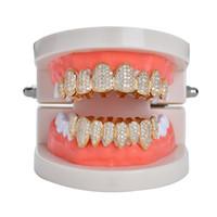ingrosso regali rame-New Hip hop denti dente grillz rame zircone cristallo denti grillz Griglie dentali regalo di gioielli di Halloween all'ingrosso per rapper rap uomini