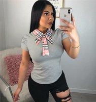 volants tops femmes achat en gros de-T-shirts à manches courtes à carreaux et à revers pour femmes