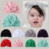 pembe saç kızları toptan satış-Kız Bebek Bow Beanie Cap Yürüyor Bebek Pamuk Turban Hindistan Şapka Saç Aksesuarları Sıcak Yeni Bebek Çocuk Yumuşak Tatlı Rayon Şapkalar