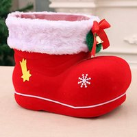 Wholesale santa candy boot resale online - Christmas Candy Bags Large Candy Boots Santa Gift Holder Basket Xmas Tree Decoration