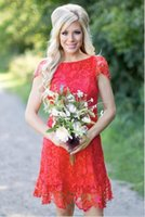 Wholesale western homecoming dresses for sale - Group buy 2020 Red Full Lace Short Bridesmaid Dresses Western Country Style Crew Neck Cap Sleeves Mini Backless Homecoming Cocktail Dresses
