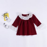 Wholesale puffed collar online – Baby girls Ruffle lace collar dress children Puff Sleeve princess dresses spring autumn Fashion boutique Kids Clothing C5694