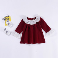 vestidos de renda colarinho para crianças venda por atacado-Meninas do bebê Ruffle gola de renda vestido de crianças Puff Sleeve vestidos de princesa 2019 primavera outono Moda boutique Crianças Roupas C5694