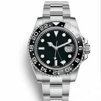 kunststoff-touchscreen led-uhren großhandel-Top Master GMT Keramik Lünette Herren Mechanisch Edelstahl Automatik Uhrendesigner Sport Selbstaufzug Uhren Leuchtarmbanduhr