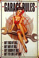 regra de metal venda por atacado-Regras de cautela garagem hotrod cerveja route66 mancave pinup menina 20 * 30 cm de metal da motocicleta Sinal Da Lata Café Bar Restaurante Wall Art Deco Pintura