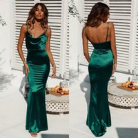 Wholesale open back navy prom dress resale online - Cheap Hunter Green Sheath Evening Dresses Sexy Open Back Stretchy Satin Long Prom Vestidos Pageant Gowns BM0916
