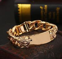 ingrosso moda scultura-Braccialetti di marca unisex Catene d'oro a forma di testa doppia scultura bracciale moda donna uomo braccialetti con ciondoli gioielli regalo amante