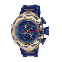 quarz armbanduhren für männer großhandel-INVICTA Luxus Gold Uhren Männer Sport Quarzuhren Chronograph Auto Datum Gummiband Armbanduhr für männliche Geschenk